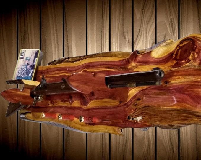 Rustic Gun Rack Live Edge Knotty Cedar Shelf 3 Shotgun Shell Pegs Arrowhead Hangers Rifle Shotgun Muzzle Loader Handcrafted Gift