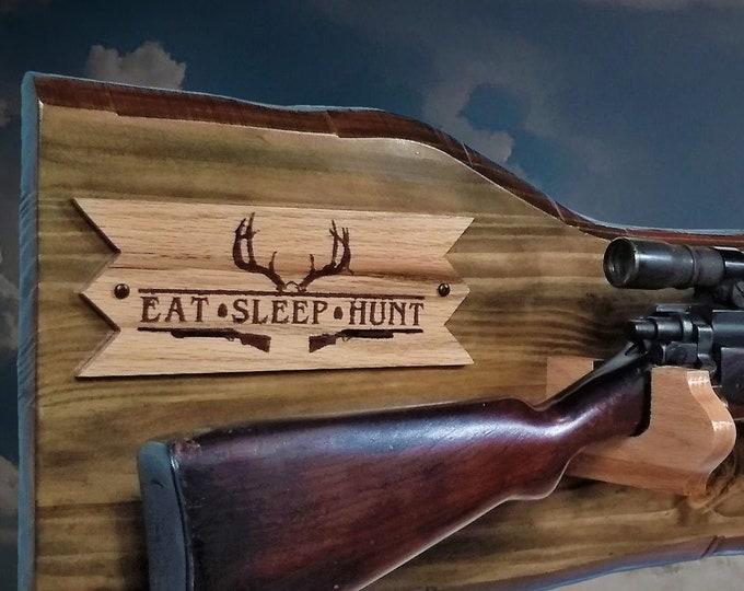 Rustic Gun Rack Eat-Sleep- Hunt Plaque Rifle Shotgun Display Imitation Live Edge Cabin Décor Handcrafted Gift. Free Shipping