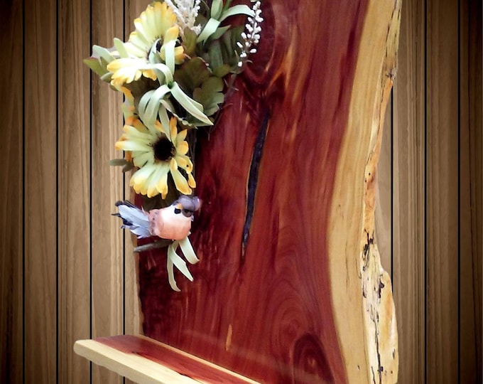 Rustic Live Edge Cedar Floral Wood Hanging Knick Knack Wall Shelf Home Cabin Decor A Wonderful Handcrafted Gift