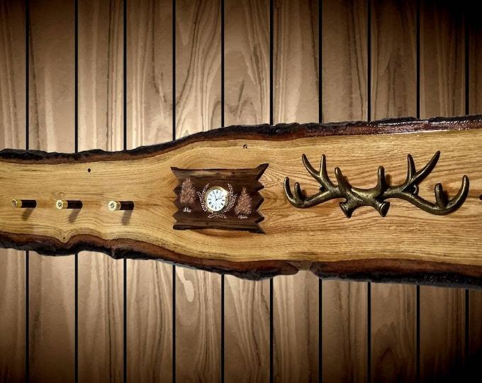 Rustic Wall Hat Coat Key Rack Live Edge Oak Clock 7 Shotgun Shell Pegs Home Cabin Decor Gift