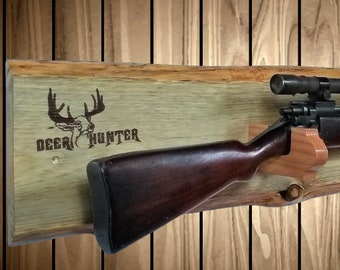 Rustic Gun Rack, Live Edge Knotty Pine, Rifle Shotgun Muzzle Loader, Deer Hunter Decor, Handcrafted Gift, Free Shipping!
