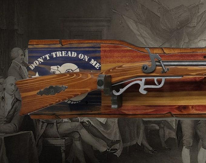 "Rustic ""Don't Tread On Me""  Gun Rack Wall Mount Wood Pistol Hangers Rifle Shotgun Americana Décor, 2nd Amendment Gift, FREE SHIPPING"