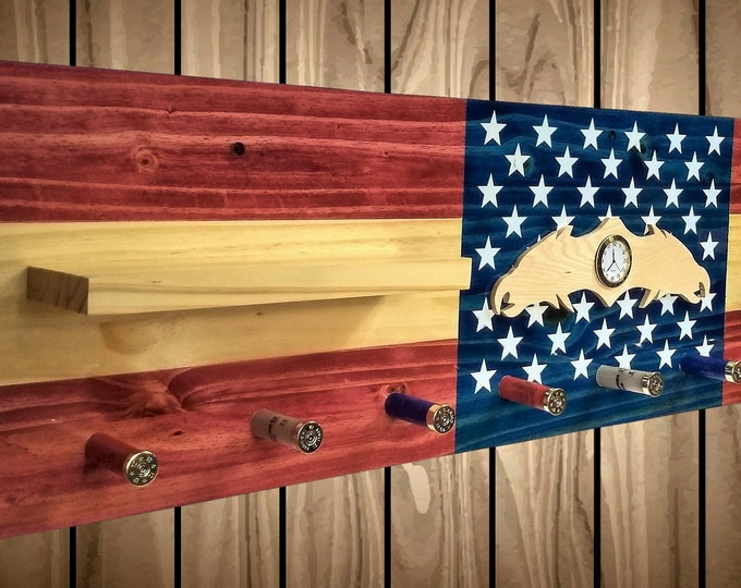 Flag Coat, Hat, Clothes Rack, Wall Hanging Shelf, 9 Shotgun Shell Pegs,Eagle Clock, Americana, Bedroom Decor, Gift, FREE SHIPPING