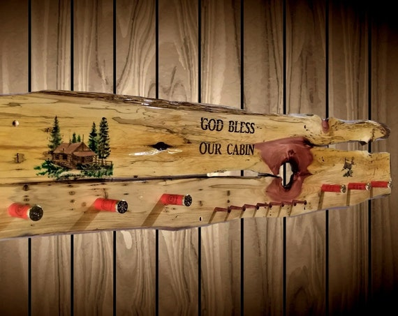 God Bless Our Cabin Rustic Wall Decor Hat Coat Key Rack Shotgun Shell Pegs Handmade Gift