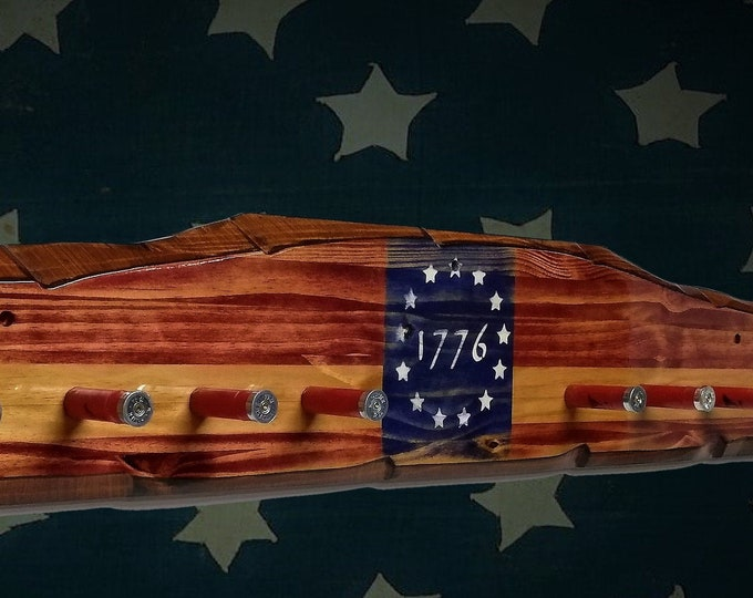 Rustic 1776 Hat Coat Rack Knotty Pine Wood Wall Mount Shotgun Shell Pegs Faux Live Edge Patriotic Décor Gift, FREE SHIPPING