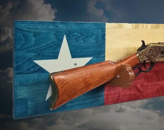 Texas Wood Flag Gun Rack Rifle Shotgun Display Wall Decor Gift Texan Flag Decor Gift, FREE SHIPPING
