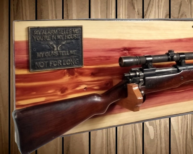 Live Edge Knotty Cedar Rifle Gun Rack Wall Mount, Rustic Hunting Decor, Gift, FREE SHIPPING