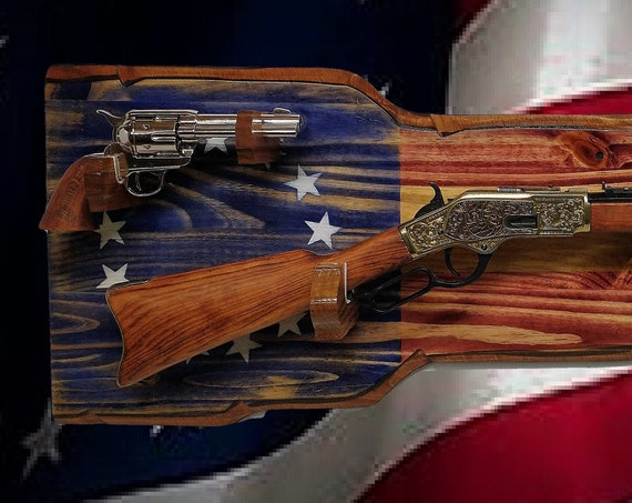 Rustic 13 Star Americana Rifle Pistol Gun Rack Display Vintage Military Patriotic Décor Gift, FREE SHIPPING