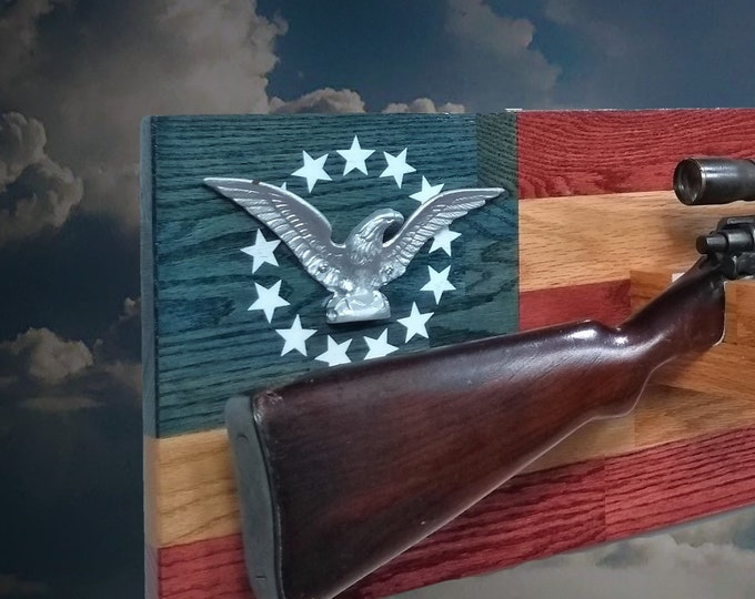 Rustic Oak Silver Eagle Gun Rack Wall Mount Rifle Display Patriotic Flag Decor, Gift, FREE SHIPPING