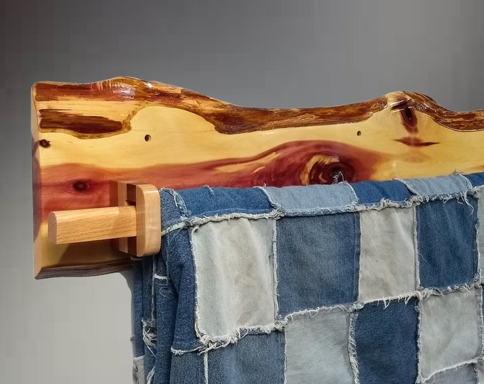 Rustic Hanging Wood Quilt Rack Live Edge Knotty Red Cedar Home Cabin Decor Gift, FREE SHIPPING!