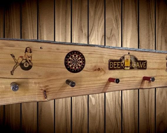 Beer Cave Coat Hat Rack Rustic Wood Wall 6 Shotgun Shell Pegs Man Cave Bar Home Decor