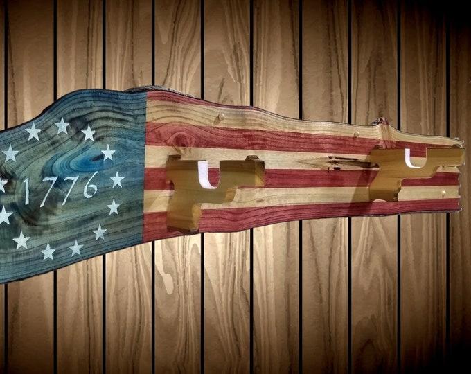 Rustic Patriotic 1776 Flag Gun Rack Live Edge Wall Mount Pistol Hangers Rifle Shotgun Handmade Americana Cabin Man Cave Decor Gift