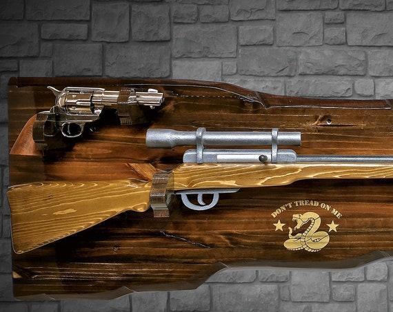"Rustic Gun Rack Rifle Shotgun with Pistol Display ""Don't Tread On Me"" Wall Mount Cabin Décor Gift"