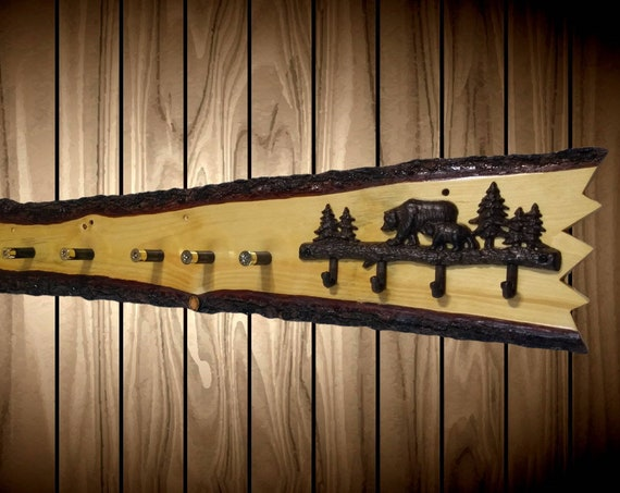 Unique Knotty Pine Hat Coat Key Rack Bears Clock Shotgun Shell Pegs Home Rustic Wall Decor Handcrafted Gift