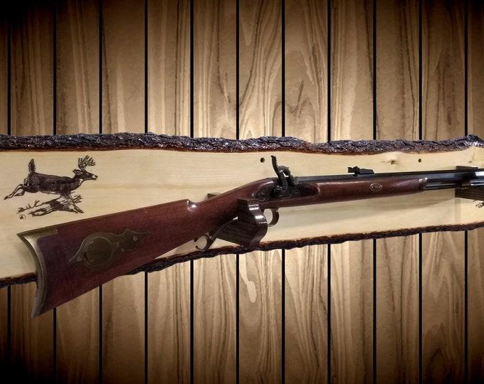 Rustic Gun Rack, Live Edge Knotty Pine, Rifle Shotgun Muzzle Loader, Hunting Deer Decor, Handcrafted Gift