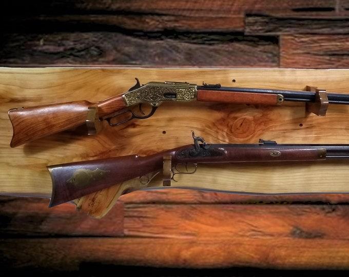 Rustic Gold Gun Rack, Live Edge Knotty Cypress, 2 Guns Display, Wall Mount, Rifle Shotgun, Hunting Decor, Gift, FREE SHIPPING