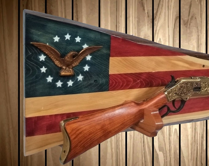 Rustic Patriotic Flag Gun Rack Live Edge Cedar Wall Display Rifle Shotgun Cabin Decor, Gift FREE SHIPPING