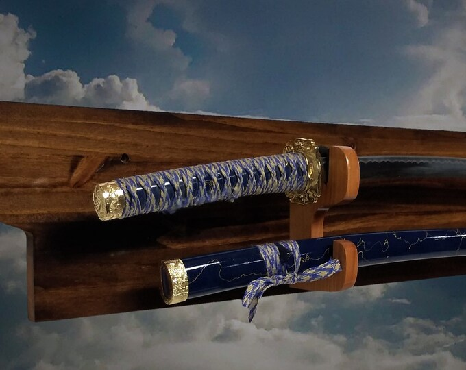 Rustic Sword Rack Blade Sheath Display Military Saber Katana Long Sword Wall Mount Gift, FREE SHIPPING