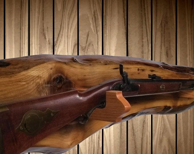 Live Edge Walnut Gun Rack, Oak Hangers, Wall Mount, Rifle Shotgun, Home Cabin Hunting Decor, Vintage Gun Display Gift, FREE SHIPPING