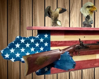 Patriotic Bear Flag Gun Rack Shelf Rifle Shotgun Hunting Americana USA Decor Gift, FREE SHIPPING
