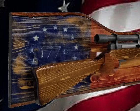 Rustic American Gun Rack Knotty Pine Wall Mount Rifle Shotgun Display 1776 Flag Décor, Gift, FREE SHIPPING