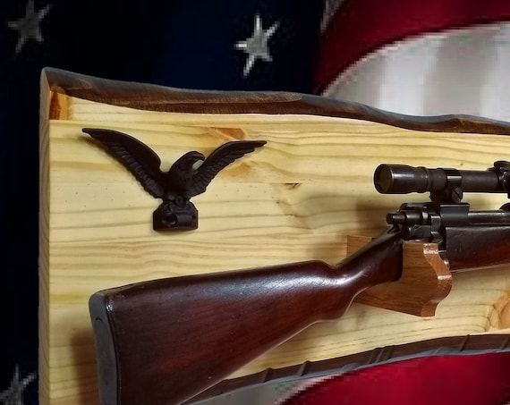 Rustic Knotty Pine Gun Rack Oak Hangers Black Iron Eagle Rifle Shotgun Display Hunting Military Gift. Free Shipping