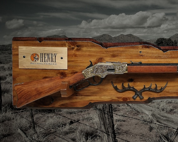 Rustic Gun Rack Henry Lever Action Rifle Display Imitation Live Edge Antlers Cabin Décor Birthday Gift. Free Shipping