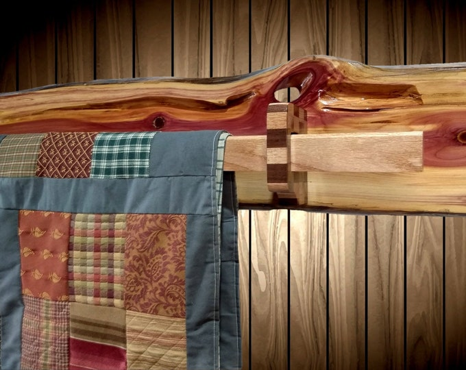 Rustic Hanging Wood Quilt Rack Wall Mount Live Edge Knotty Cedar Home Cabin Decor Gift