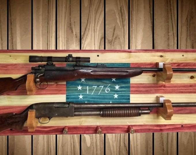 1776 Flag Gun Rack, Wall Mount, Rustic Knotty Pine, 2 Guns, Rifle Shotgun Shell Pegs, Americana Cabin Man Cave Decor Gift, FREE SHIPPING