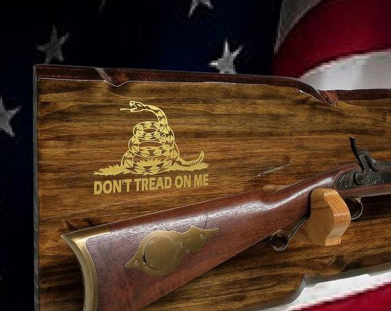 "Rustic Gun Rack Rifle Shotgun Display ""Don't Tread On Me"" Beautiful Finish 2nd Amendment Gift, FREE SHIPPING"