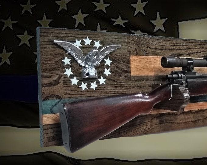 Rustic Oak Thin Blue Line Gun Rack Silver Eagle Wall Mount Rifle Shotgun Display Patriotic Decor Police Officer Gift, FREE SHIPPING