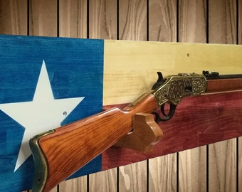 Texas Wood Flag Gun Rack, Western, Lever Action Rifle Display Wall Decor Gift, Texas Flag Decor, Hunting Gift, FREE SHIPPING