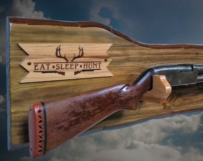Rustic Gun Rack Eat-Sleep- Hunt Plaque Rifle Shotgun Display Imitation Live Edge Cabin Décor Handcrafted Gift. Free Shipping
