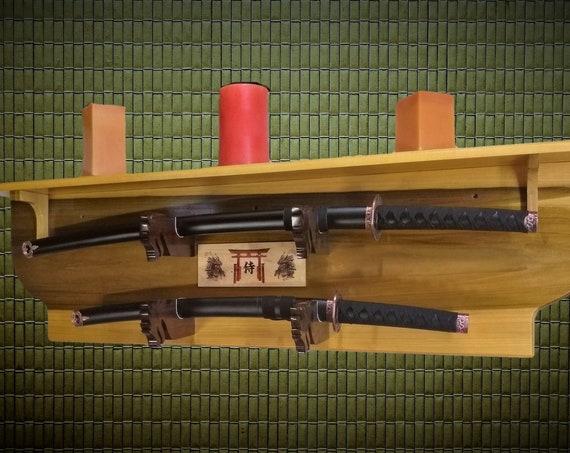 Sword Display Rack 2 Tier with Shelf, Dragon Hangers, Samurai Katana Wall Display, Bushido Shinto Plaque, Beautiful Natural Wood, Gift