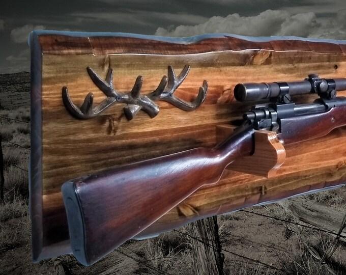 Rustic Gun Rack Imitation Live Edge Antlers Hunting Rifle Display Cabin Decor Gift. Free Shipping