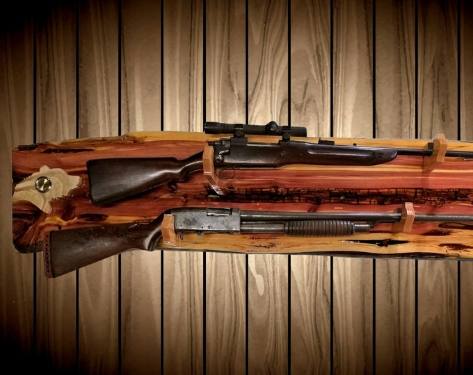 Rustic Raw Nature  2 Place Gun Rack Wall Mount Live Edge Knotty Cedar Bear Clock Oak Hangers Rifle Shotgun Home Cabin Decor Gift