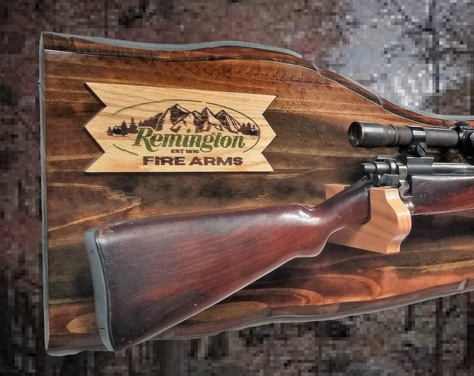 Rustic Remington Gun Rack Imitation Live Edge Hunting Rifle Shotgun Display Cabin Décor Gift. Free Shipping