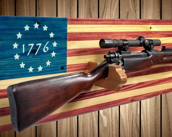 Betsy Ross 1776 American Flag Gun Rack, Knotty Pine Wall Mount, Rifle Shotgun, Handmade Americana, Cabin, Hunting Decor, Gift, FREE SHIPPING