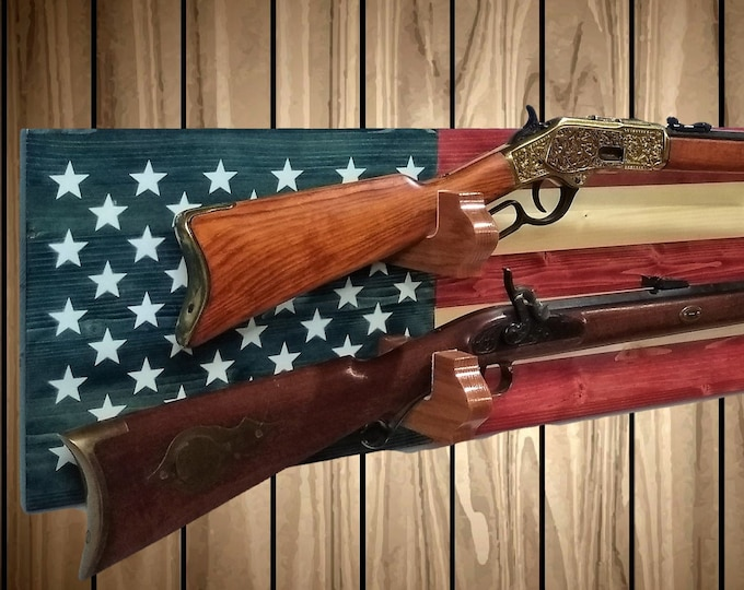 Americana Flag 2 Place Gun Rack Wall Display Rifle Shotgun USA Hunting Decor Gift, FREE SHIPPING