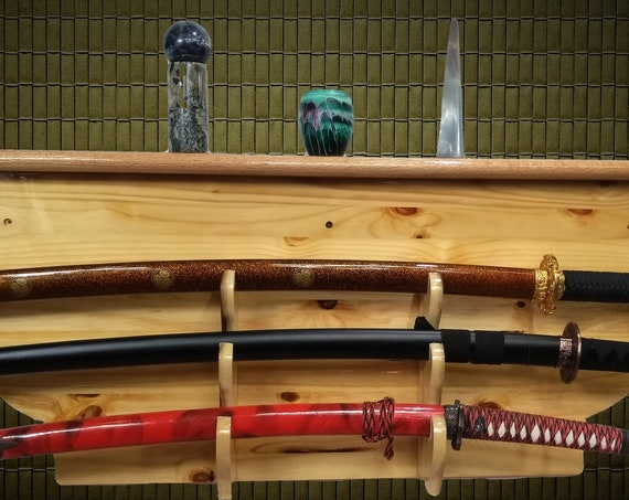 Rustic 3 Tier Sword Display Rack, Knotty Pine, Katana Wakizashi Tanto, Samurai Martial Arts Japanese Decor, Handcrafted Gift, FREE SHIPPING