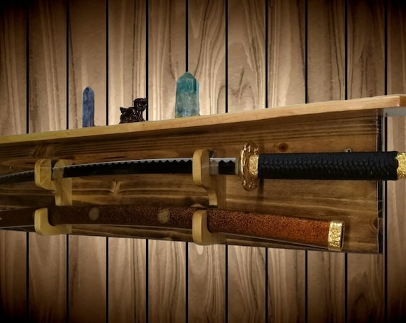 Sword Display Rack Wall Shelf Katana Military Saber Blade and Sheath Custom Hangers Handcrafted Gift