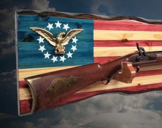 Golden Eagle American Gun Rack Rustic Wall Display Rifle Shotgun Cabin Patriotic Flag Decor, Gift FREE SHIPPING