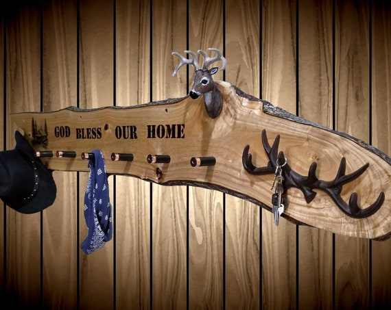 "Rustic ""God Bless Our Home"" Hat Coat Key Rack, Shotgun Shell Pegs, Deer Mount, Cabin Decor, FREE SHIPPING"