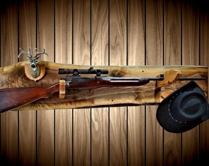 Rustic Walnut Gun Rack Mini Buck Mount Arrowhead Hangers Wall Mount Shotgun Rifle Home Cabin Decor Gift