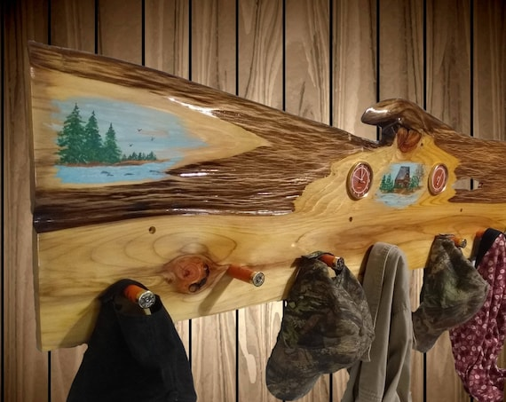 Very Rustic Hand Painted Hat Coat Rack, Clemson Orange Clock Thermometer 8 Shotgun Shell Pegs. Home, Cabin Decor Gift, Free Shipping!