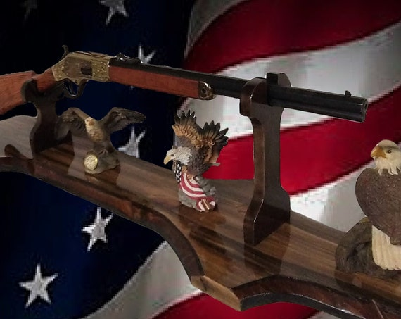 Winchester, Henry, Lever Action Western Rifle Display Stand Mantel Table Top Rustic Gun Rack Handcrafted Gift, FREE SHIPPING