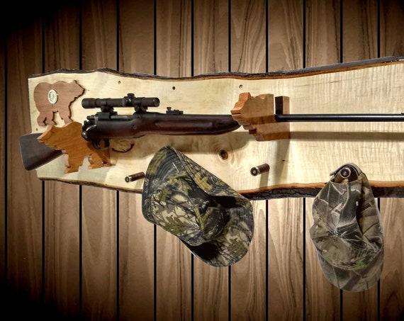 Wall Gun Rack Live Edge Maple Bear Clock Hangers Rifle Shotgun Muzzle Loader Home Cabin Decor Handcrafted Gift