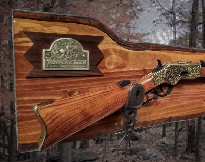 Rustic Knotty Pine Winchester Rifle Gun Rack Cast Iron Spur Hangers Western Rifle Display Cabin Gift
