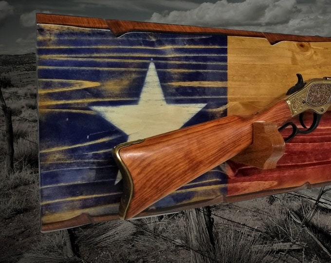 Rustic Texas Gun Rack Knotty Pine Wall Mount Lever Action Rifle Display Lone Star Flag Décor, Gift, FREE SHIPPING