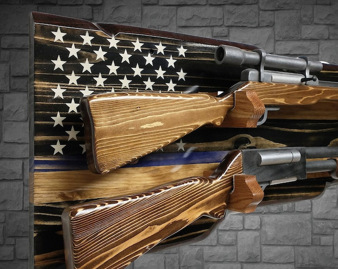 Rustic Thin Blue Line Gun 2 Place Rack Display Stars and Stripes Rifle Shotgun Police Military Officer Gift